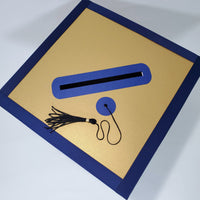 Graduation Cap Card Box - Navy, Gold