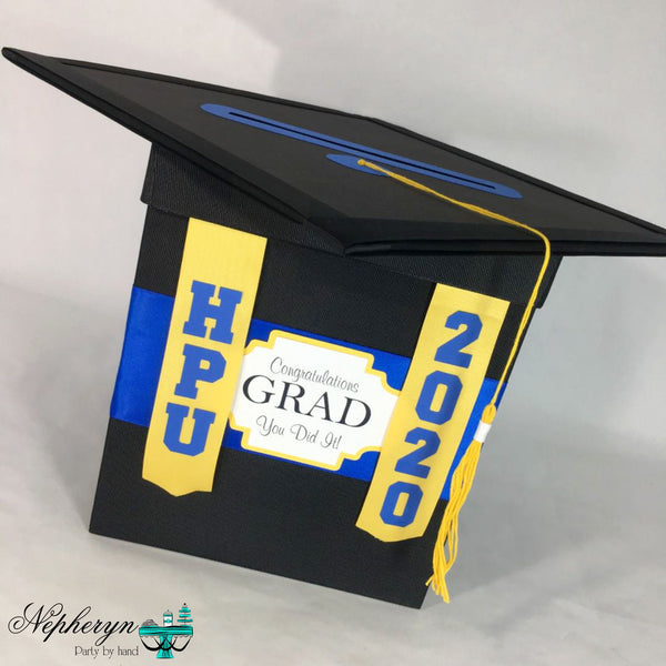 Royal Blue, Yellow, and Black 2020 Graduation Card Box
