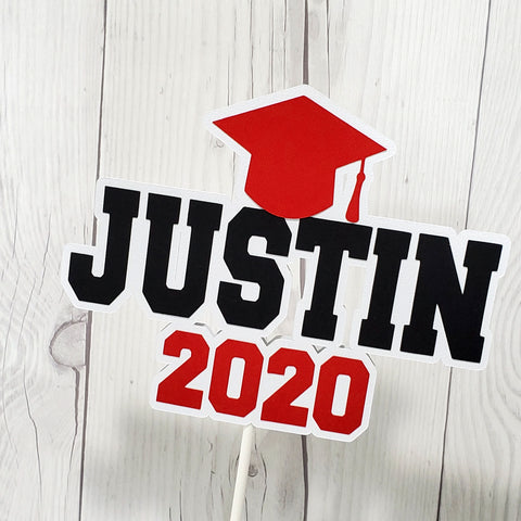 2020 Graduation Cake Topper - Red, Black