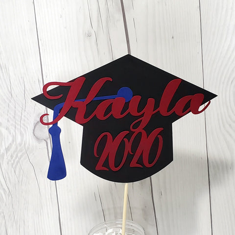 Class of 2020 Graduation Cake Topper - Maroon, Black, Blue