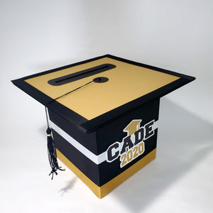 Graduation Party Card Box - Black, Gold, White