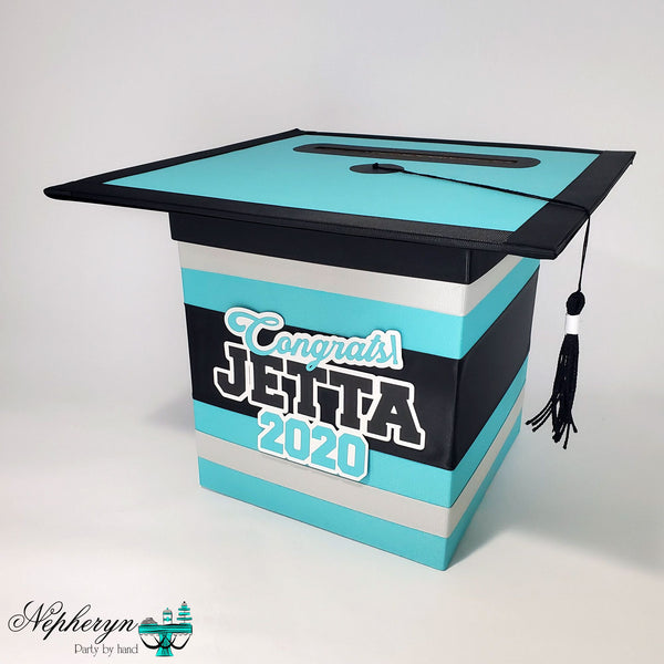 Teal, Black, & Silver Graduation Card Box