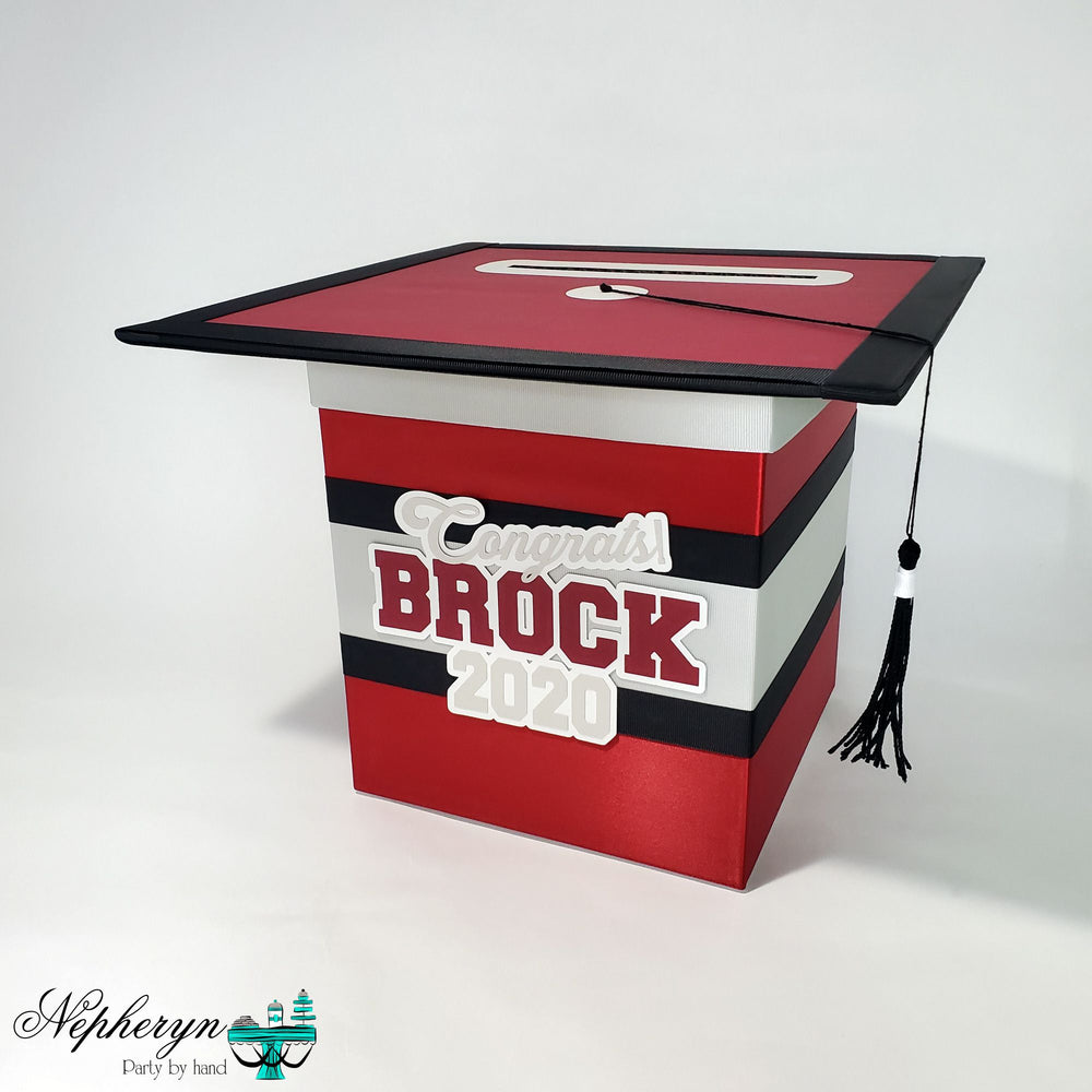 Maroon, Gray, and Black Graduation Card Box