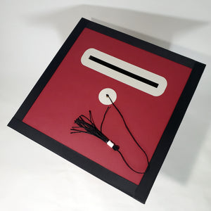 Graduation Cap Card Box - Maroon, Gray, Black