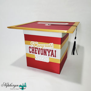 Maroon, Gray, & Gold Graduation Card Box