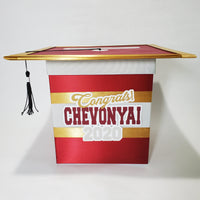 Graduation Cap Card Box - Maroon, Gray, Gold