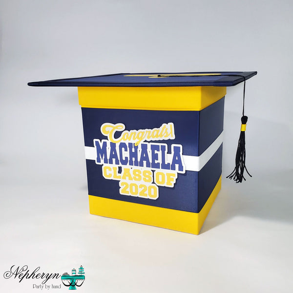 Navy & Yellow Graduation Card Box