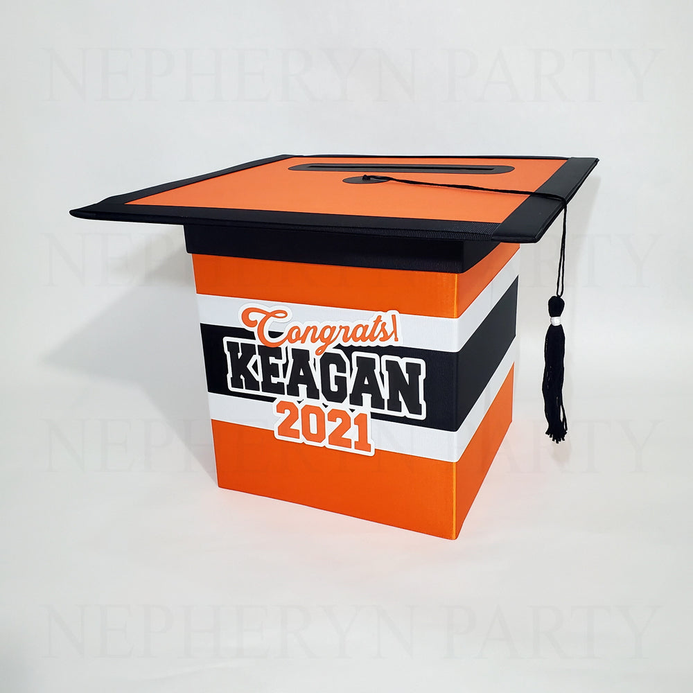 Orange & Black Class of 2021 Graduation Card Box 1