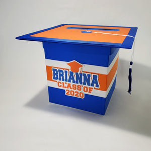 Graduation Cap Card Box - Blue, Orange