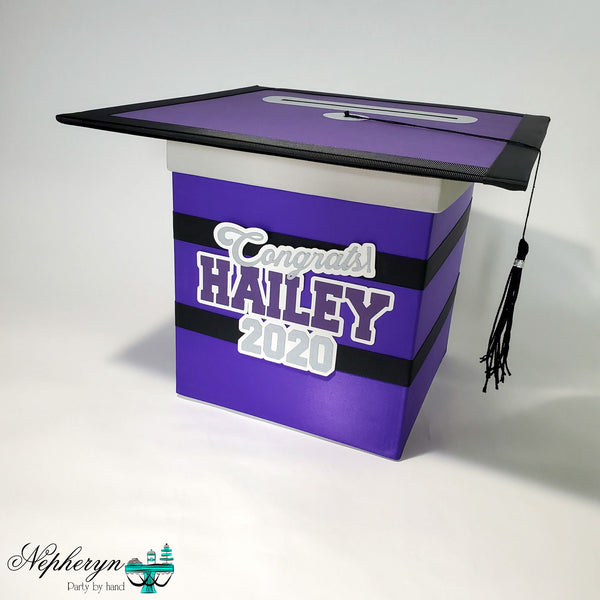 Purple, Black, & Silver Graduation Card Box