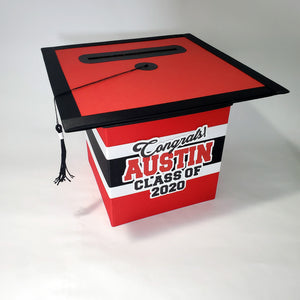 Graduation Cap Card Box - Red, Black