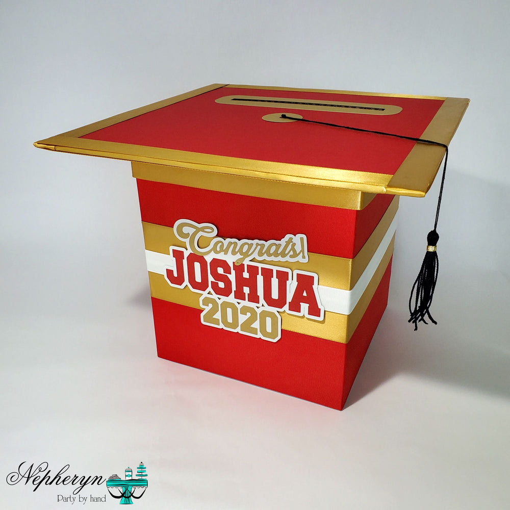 Red and Gold Graduation Card Box