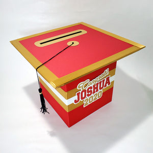 Graduation Cap Card Box - Red, Gold
