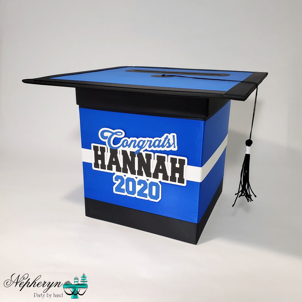 Blue and Black Graduation Card Box