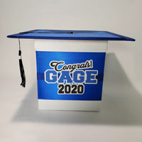 Graduation Cap Card Box - Blue, White