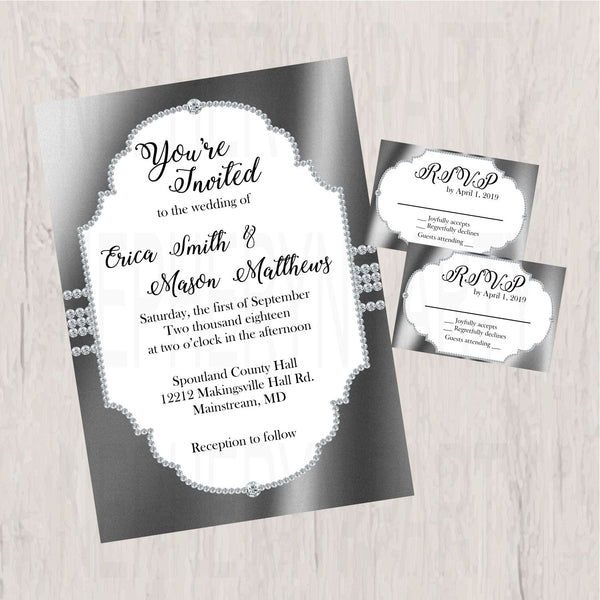 Silver & White Elegant Wedding Invite and RSVP Cards