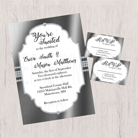 Gray and Silver Diamond Wedding Invitation