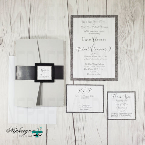 Gray & White Simple Wedding Invitation Set