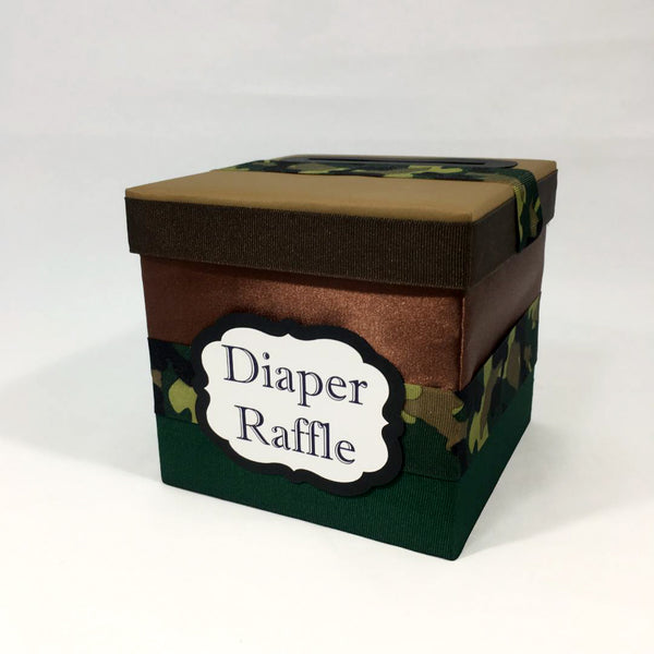 Green and Brown Camouflage Army Diaper Raffle Ticket Box