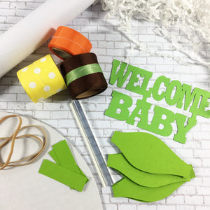 Green, Brown, Orange, & Yellow Safari Diaper Cake Kit