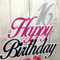 Happy Birthday Cake Topper - Pink, Black, Silver