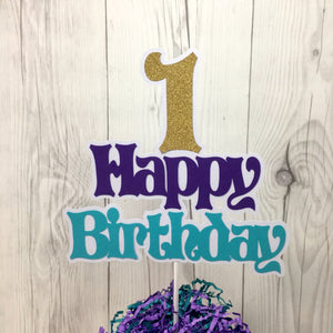 Mermaid Happy 1st Birthday Cake Topper
