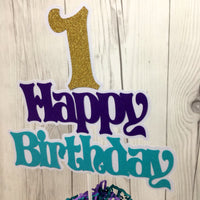 Happy Birthday Cake Topper - Purple, Teal, Gold