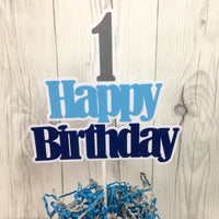 Navy, Light Blue, & Gray Happy Birthday Cake Topper