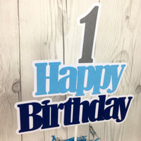 Happy Birthday Cake Topper - Navy, Light Blue, Gray