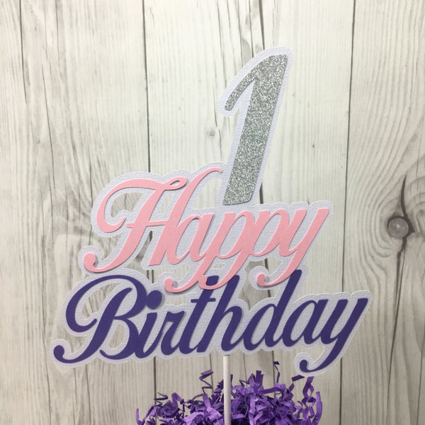 Lavender, Pink, & Silver Happy 1st Birthday Cake Topper