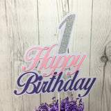 Happy Birthday Cake Topper - Pink, Lavender