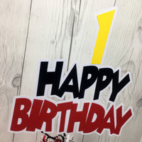 Happy Birthday Cake Topper - Red, Black, Yellow
