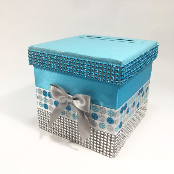 Blue & Silver Winter Holiday Diaper Raffle Ticket Box