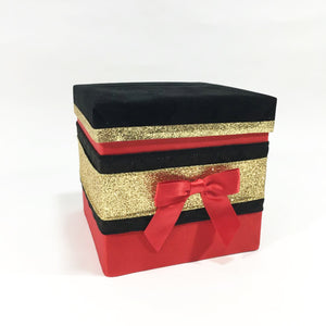 Red, Black, & Gold Holiday Raffle Ticket Box