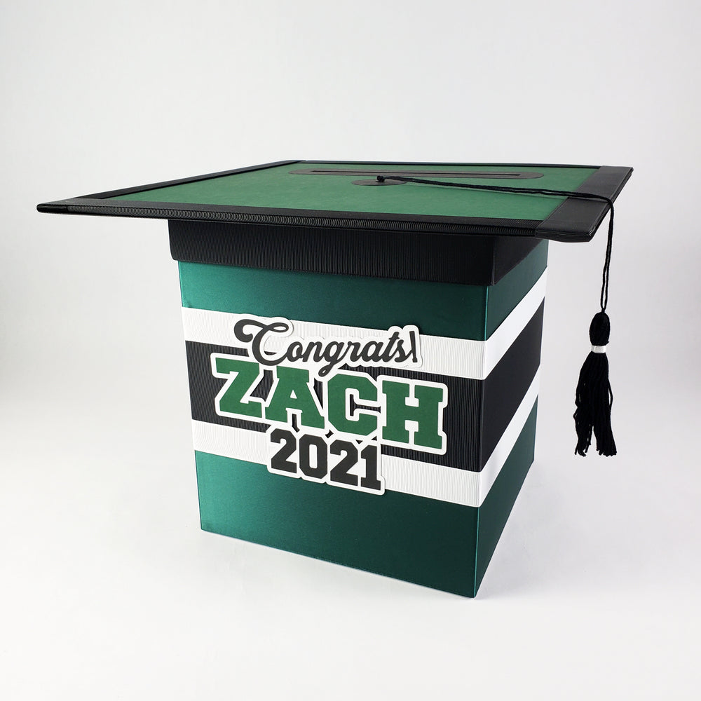 Hunter Green & Black Graduation Card Box