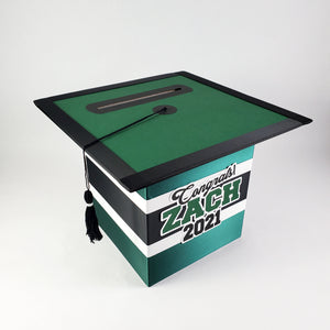 Hunter Green & Black Graduation Money Box