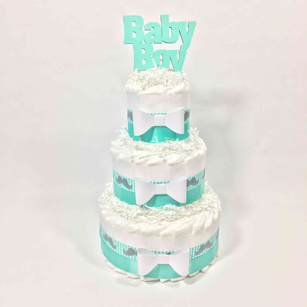 Aqua & White Baby Boy Diaper Cake Centerpiece