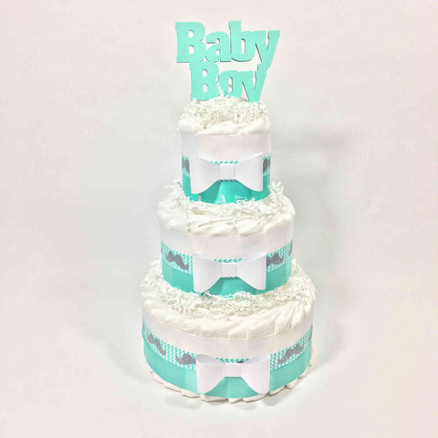 Aqua & White Baby Boy Baby Shower Diaper Cake Centerpiece