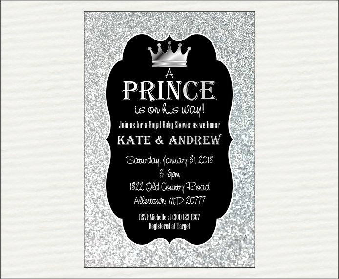 Black & Silver Prince Baby Shower Invitation