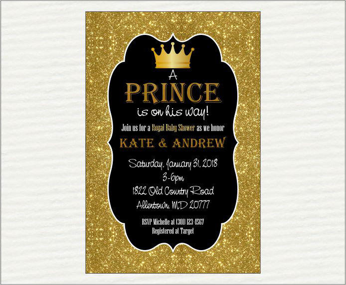Black & Gold Prince Baby Shower Invitation