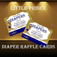 Blue, Gold Prince Diaper Raffle Tickets and Sign - Curly