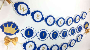 Royal Blue & Gold Little Prince Baby Shower Banner