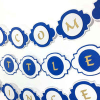 Blue & Gold Welcome Little Prince Banner for Baby Shower, Prince Themed Party Decorations