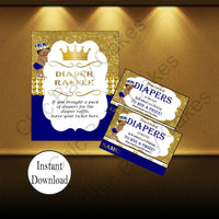 Royal Blue & Gold Prince Diaper Raffle Sign & Tickets