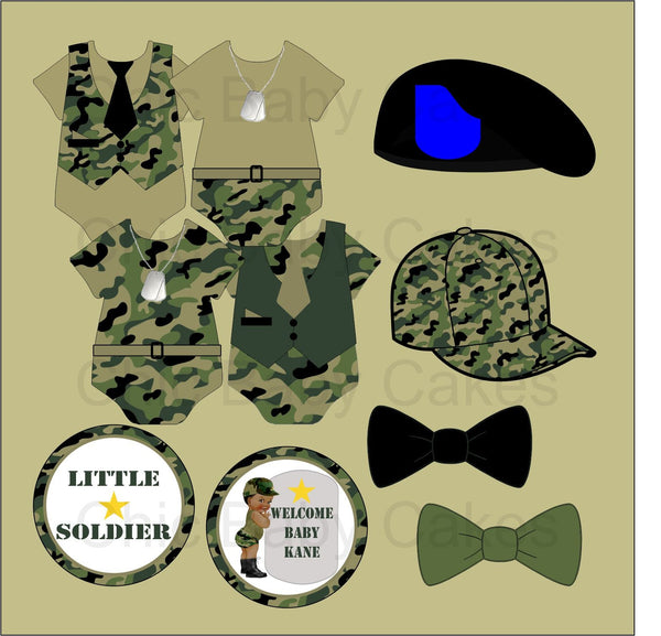 Green Army Camouflage Baby Shower Clipart Decorations