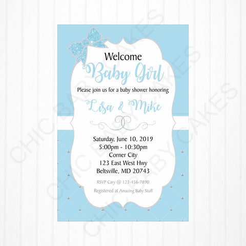 Ice Blue and Silver Baby Girl Baby Shower Invitation