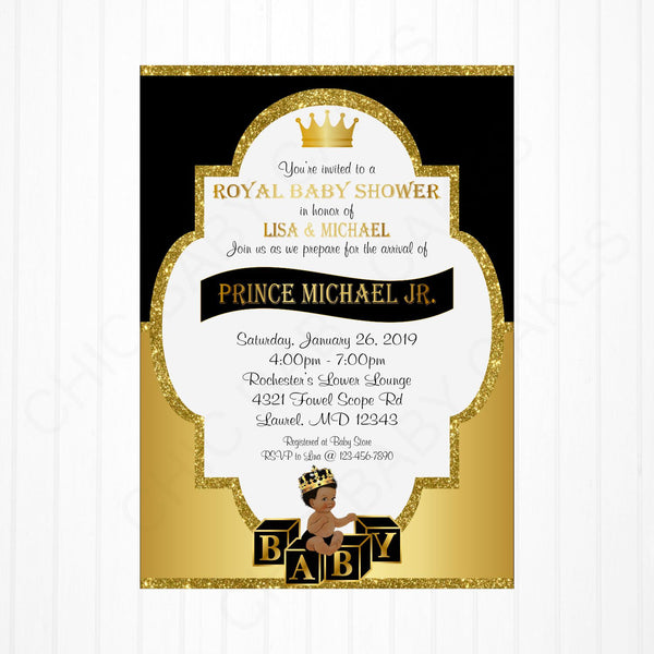 Black and Gold Little Prince Baby Shower Invite