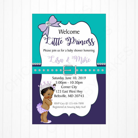 Printable Purple, Teal, and Silver Princess Baby Shower Invitation