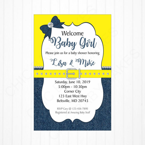 Yellow & Denim Girl Baby Shower Invitation