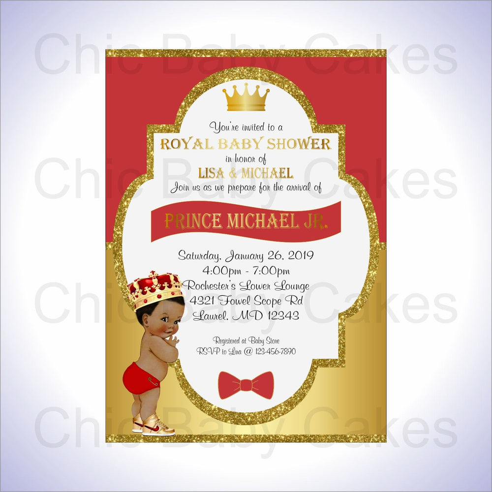 Red & Gold Royal Prince Baby Shower Invite